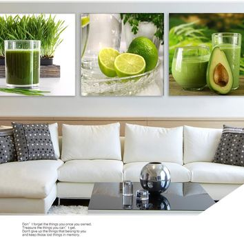 Fruits Canvas Painting Large Wall Pictures For Living Room Kitchen Wall Pictures Print On Canvas 3 Panel No Frame