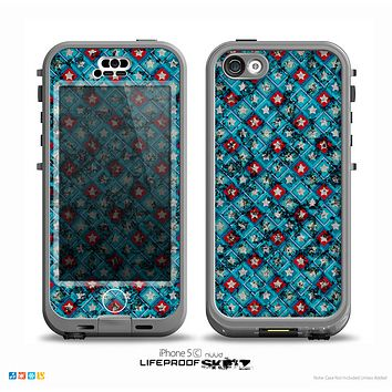 The Worn Dark Blue Checkered Starry Pattern Skin for the iPhone 5c nüüd LifeProof Case