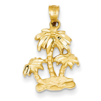 14k Satin Diamond-cut Open-Backed Palm Trees Pendant C2510