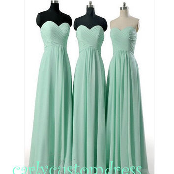 Cheap Long Mint Chiffon Bridesmaid Dress Coral Blue Peach Grey Black Sweeetheart Prom/Homecoming/Party/Coc­ktail Dress Wedding Party Dress
