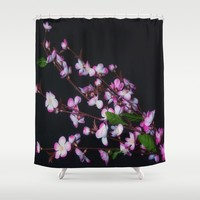 Red and White Flowers on Black Shower Curtain by Scott Hervieux
