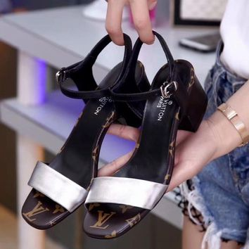 Louis Vuitton Women Fashion Simple Casual Low Heeled Sandals Shoes