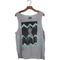 David Bowie Women's  Zig Zag Womens Tank Grey