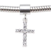 Sterling Silver Fancy Crystal Cross Dangle Charm Bead - European Style Large Hole - 21mm