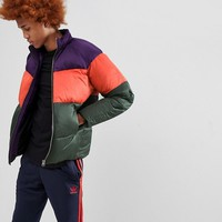 ASOS Puffer Jacket In Colour Block at asos.com