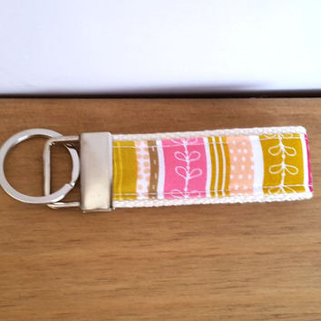 Funky Key Fob, Key Chain For Women, Girls Key Ring, Gift Ideas, Fabric Key Ring, Webbing Keyring, Stocking Filler, Teacher Gift
