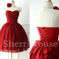 Wine Red Sweetheart Strapless Bowknot lace-up Ball Gown Short Celebrity dress ,Tulle Evening Party Prom Dress Homecoming Dress
