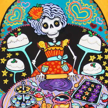 Pastry Chef Calavera Mexican Folk Art Print from Painting Christmas Cake Bakery Sweet Shop Poster