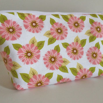 Extra Large Cosmetic Bag Toiletry Bag Travel Bag Makeup Bag in Pink Flower