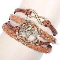 Game bird icon diy bracelet, hand weaving multilayer bracelet, men and women general leather bracelet bangles QNW8028