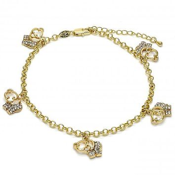 Gold Layered 03.63.1356.10 Charm Anklet , Elephant and Rolo Design, with White Crystal, Polished Finish, Golden Tone