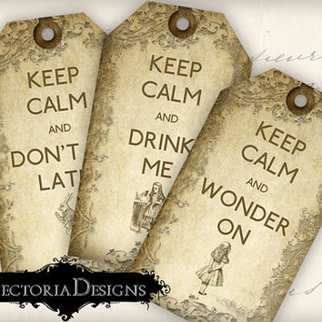 INSTANT DOWNLOAD Alice in Wonderland Keep Calm tags instant download printable gift tags digital Collage Sheet 349