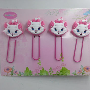 NEW Japanese Marie Cat 3D Paper Clips Set - 4pcs
