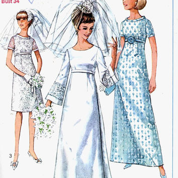 Mod Wedding dress or 60s bridesmaid dress or cocktail or evening dress vintage sewing pattern Simplicity 7084 Uncut Bust 34