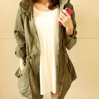 LADY WOMEN HOODIE DRAWSTRING ARMY GREEN MILITARY TRENCH PARKA JACKET COAT JUMPER