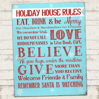 Christmas Subway Art Print - Holiday House Rules - 11 X 14 - Instant Download - Typography - Vintage - Distressed, Fun Fonts