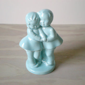Blue Ceramic Vase Boy and Girl Holding Hands by HoundDogDigs