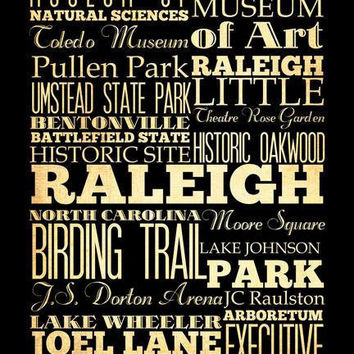 Raleigh, North Carolina, Typography Art Poster / Bus/ Transit / Subway Roll Art 18X24 - Raleigh's Attractions Wall Art Decoration -  LHA-21