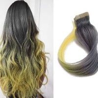 50g Tape in Rainbow Human Hair Extensions Silver Gray Grey Ombre Hairstyle Ideas