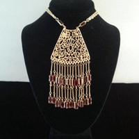 Now On Sale Vintage Statement Bib Necklace ** Red Glass Fringe Necklace ** 1950's 1960's Vintage Jewelry ** Old Hollywood Glam