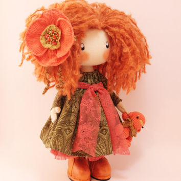 Doll Ivi redhead cloth doll doll handmade orange and green gift for her