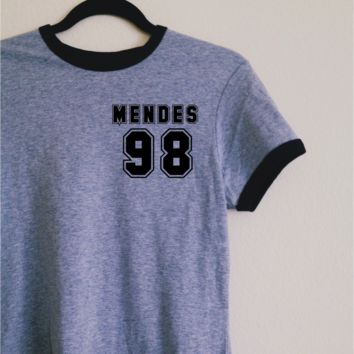 Shawn Mendes 98 Gray Ringer Tee