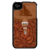 """Barrel Racer"" Tooled Leather Western IPhone 4 Cas"