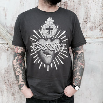 men's TSHIRT- Sacred heart print. Handmade design. Screenprinting on high quality cotton tee. Color dark grey. 100% cotton. for HIM
