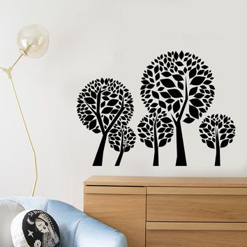 Vinyl Wall Decal Cartoon Forest Trees Leaves Nursery Children's Room Decor Stickers (2635ig)