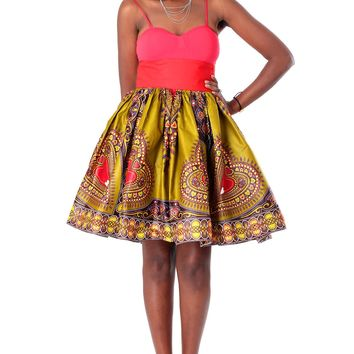 African High-Waisted Midi Flare Skirt -Olive Green, Red and Brown Dashiki Print
