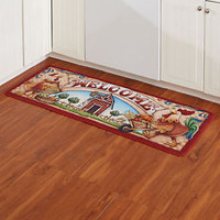 Farmers' Market Kitchen Rug Barnyard Farm Animals Country Home Decor