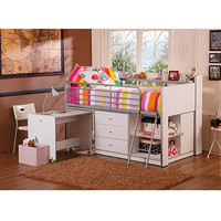 Walmart: Savannah Storage Loft Bed with Desk, White