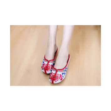 Beijing Cloth Shoes National Style Vintage Embroidered Shoes Flax Cloth Woman Home Slippers beige