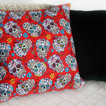 Day Of The Dead / Sugar Skull Cushions Cover (Red)