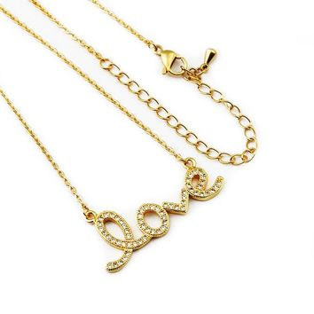 Crystal CZ Women Clavicle Love Letter Initial Symbol Pendant Necklace Chain Romantic Women Birthday Gifts Collar Jewelry Gifts