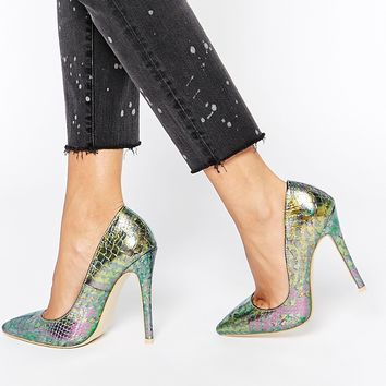 Daisy Street Iridescent Green Snake Effect Pointed Court Shoes