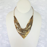 Vintage Gold Mesh Chain Whiting and Davis Style Necklace in Gold Tone 1970s Disco Costume Necklace
