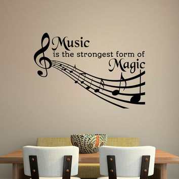 Music Quotes Wall Decal- Music Is The Strongest Form Of Magic Quote- Music Note Treble Clef Decal Bedroom Nursery Wall Art Home Decor Q216