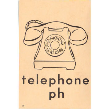 Vintage Telephone Flash Card Phonics Large 1950s Childrens Wall Phone