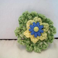 Green Crochet Flower Hair Clip Barrette Girls Floral Fashion Accessories For Her