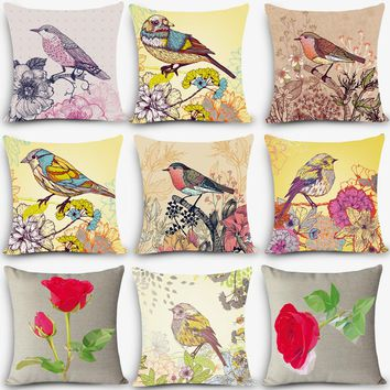 High quality print car seat linen cushion Nordic Vintage outdoor chair cushions home decor Bird flower painting pillow MYJ-I1