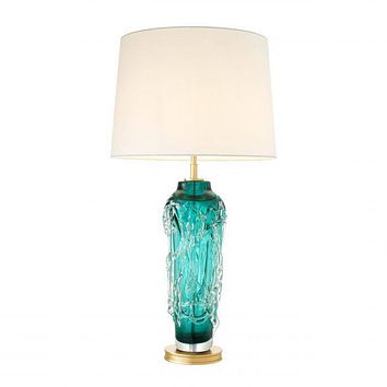 TEAL BLOWN GLASS TABLE LAMP | EICHHOLTZ TORIAN
