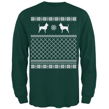 DCCKJY1 Chihuahua Ugly Christmas Sweater Forest Adult Long Sleeve T-Shirt