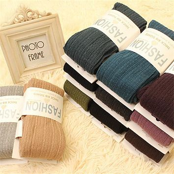 14 Candy Colors Japan Korea Autumn Winter Young Female Thick Pantyhose Step Foot Tights Cotton Knit Twist Vertical Stripes Warm