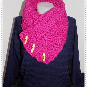 Crochet PATTERN, 3 Button 'Nedi' scarf, Wrap cowl, Shoulder Warp