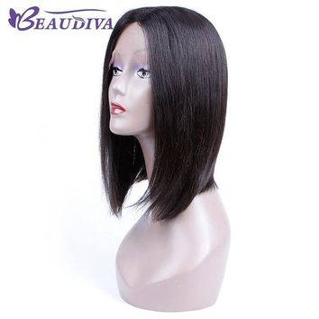 LMFG8W BEAUDIVA Pre-Colored Human Hair Wigs Short Straight Brazilian Virgin Hair Straight Natural Color For Black Women 12inch