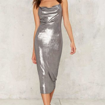 Perfect Storm Metallic Midi Dress