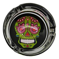 Day of the Dead - Sugar Skull - Green - Glass Ashtray