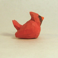 Hand Carved Wood Small Decorative Cardinal