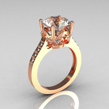 French Bridal 14K Pink Gold 3.0 Carat CZ Diamond Solitaire Wedding Ring R301-14PGDCZ